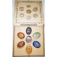 7 Chakra Point Crystal Stone Set With Storange box Type - 3