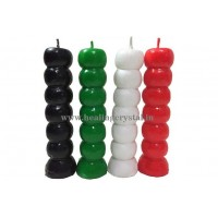 7 Knob Candle - Green, Red, White, Black