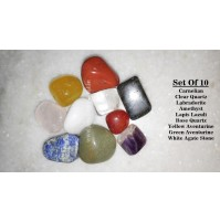 set of 10 crystal tumbled stones