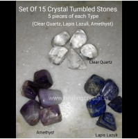 set of 15 crystal tumbled stones