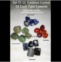 set of 20 crystal tumbled stones