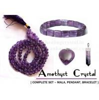 Amethyst Crystal Jewellery – (Complete Set – Mala + Pendant + Bracelet)