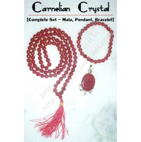 Carnelian Crystal Jewellery (Complete Set – Faceted Mala + Pencil Pendant + Faceted Bracelet )
