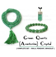Green Aventurine Crystal Jewellery (Complete Set – Faceted Mala + Pendant + Faceted Bracelet)