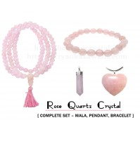 Rose Quartz Beads Crystal Jewellery(Complete Set – Faceted Mala + Pencil Pendant + Faceted Bracelet)
