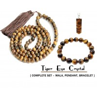 Tiger Eye Crystal Jewellery (Complete Set – Mala + Pendant + Bracelet)