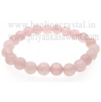 Rose Beads Quartz Faceted Crystal Bracelet Type - 2