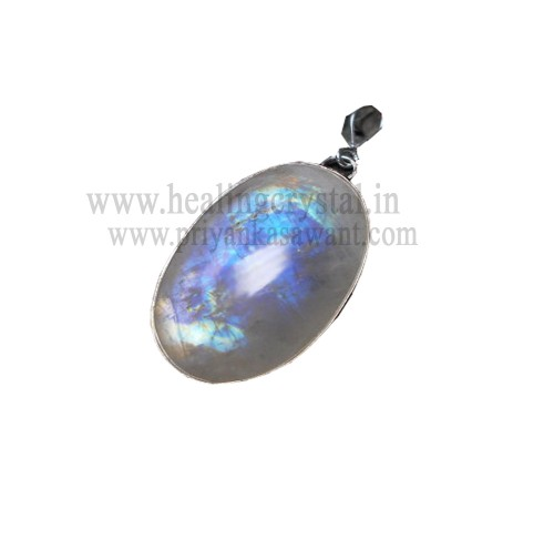 Rainbow Moonstone Crystal Pendant Gold Plated