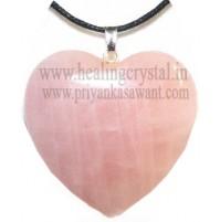 Rose Quartz  (Heart Shape) Crystal Pendant Type - 1