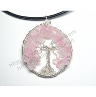 Rose Quartz (Tree) Crystal Pendant Type - 4