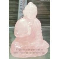 Buddha Statue - Rose Quartz Crystal Stone