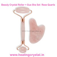 Beauty Crystal Roller + Gua Sha Set Rose Quartz