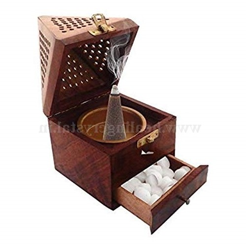 Wooden Handicrafts Handmade Wooden Incense Sticks Holder Wooden Pyramid Incense Box Fragrance Stand Holder Agarbati Dhoop