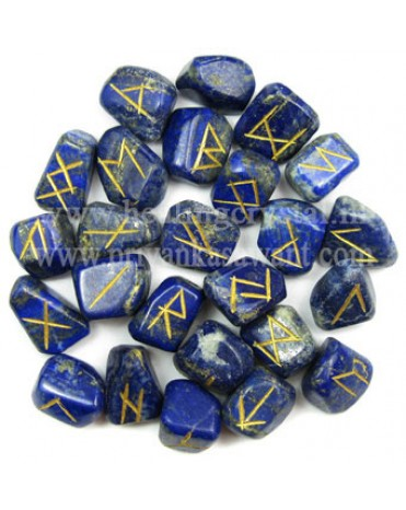 Rune Blue Lapis Lazuli Crystal (25 Stone Set)